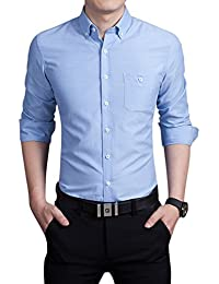 Chouyatou Men's Basic Collared Long Sleeve Dress Shirt One-Pocket