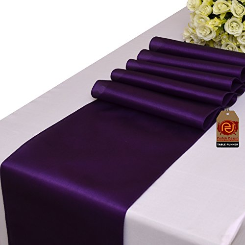 Parfair Dessin Pack of 10 Satin Table Runners 12 x 108 inch (Purple Table Decorations)
