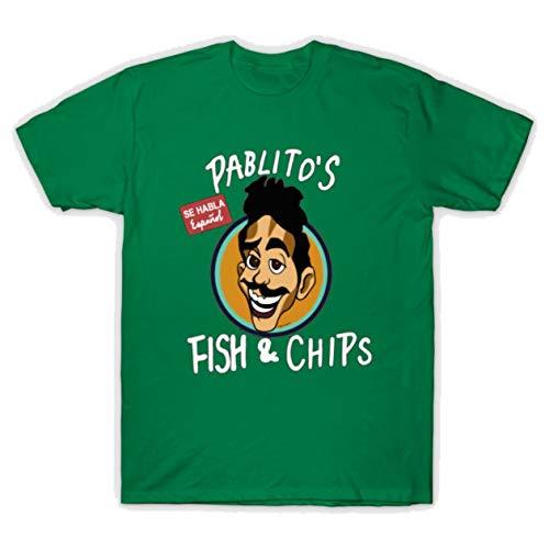 PENGPO Men's Pablito'S Fish and Chips Graphic Printed T-Shirt Medium