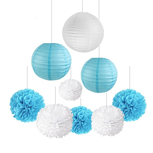 SUNBEAUTY Pack of 9 White Sky Blue Tissue Paper Pom Poms Flower Paper Lanterns Outdoor Decoration Birthday Party Wedding Christmas Xmas - Pom Poms Pack