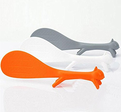 DZT1968 1pc Creative Lovely Kitchen Supplie Squirrel Shaped Non Stick Rice Paddle (S Shaped Fruit Holder)
