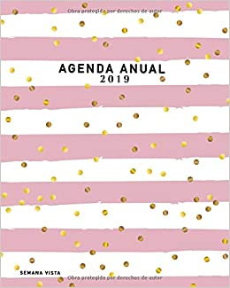 Agenda Anual 2019 Semana Vista: Agenda Semanal, Diseño rayas ...