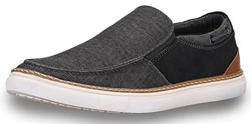 Gallery Seven Mens Canvas Slip On Boat Shoe Sneaker ()