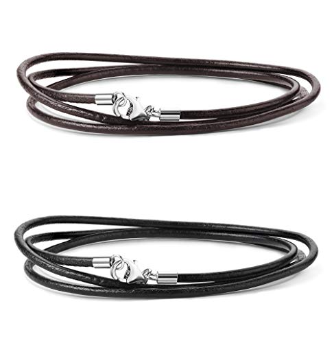 (Sllaiss 2Pcs 2MM Leather Cord Necklace for Men Women Black Brown Leather Necklace Chain with Sterling Silver Clasp 16-30 Inch (20))