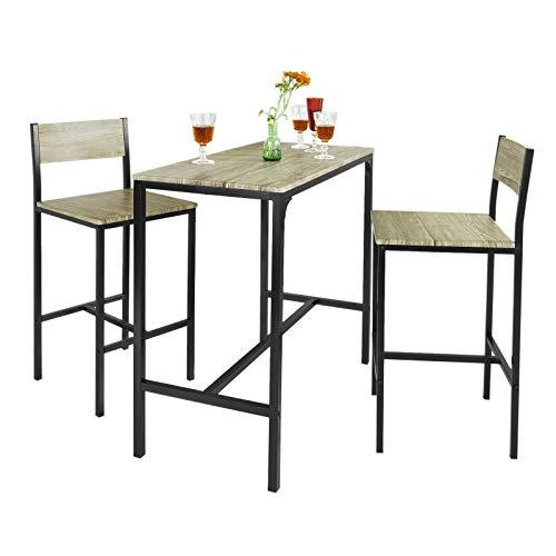 SoBuy Juegos de Muebles Altas, Mesa de Cafeteria, 3 Piezas Set de Balcon, Set de Bar, OGT03, ES (2 Sillas)