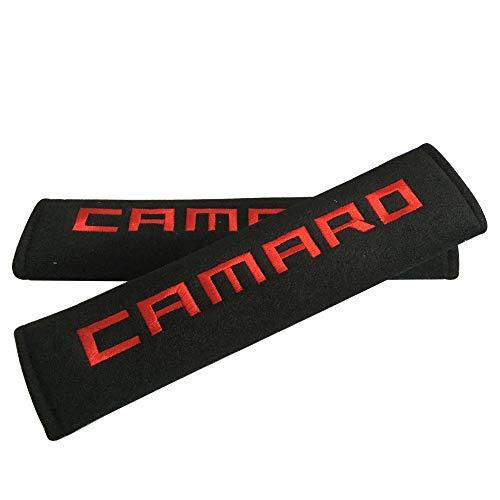 Sinaga 2pcs Red Camaro Logo Car Embroidered Cushion Badge Comfortable Seat Belt Cover