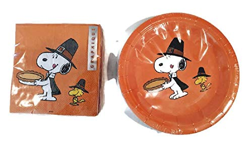 Snoopy and Woodstock Thanksgiving Coated Paper Dessert Plates and Napkins