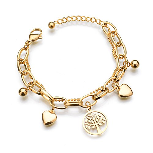 Lureme 18K Gold High Polished Stainless Steel Chain Bracelet with Ball Heart Life Tree Charms (bl003258)