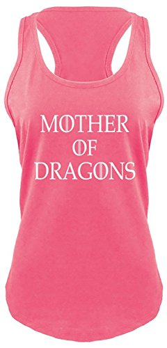 Ladies Racerback Tank Mother of Dragons T Shirt Thrones TV Show Gamer Gift Tee Hot Pink with White Print S Dragon Womens Pink T-shirt