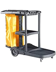 Commercial Laundry Cart Cleaning Cart On Wheels - Housekeeping Caddy with Cover, Shelves and Vinyl Bag Can Bear 100kg Simple Assembly 39.3x51.1x21.6inch (Black)