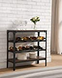 K & B Furniture WR1253 Black & Walnut Wood & Metal Storage Wine Rack
