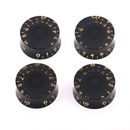 4 Black Gold LP Electric Guitar Speed Control Knobs Volume Tone Les Paul Metric