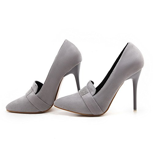 Odomolor Women's Frosted Pointed-Toe High-Heels Pull-On Solid Pumps-Shoes, Gray, 32