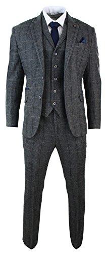 Cavani Mens 3 Piece Classic Tweed Herringbone Check Grey Navy Slim Fit Vintage Suit Charcoal 46
