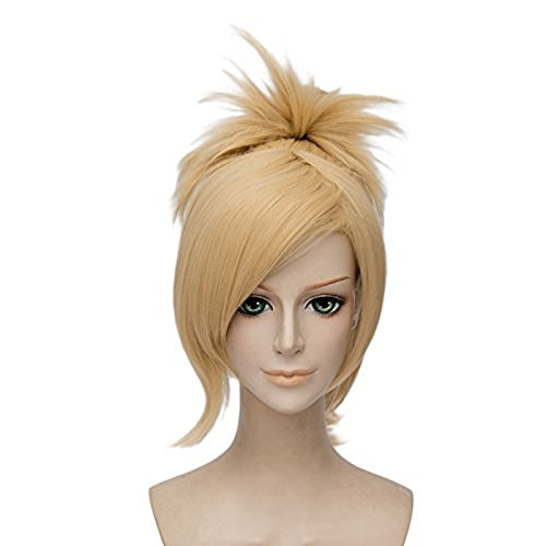 Price comparison product image Anogol Hair Cap+Gril's Cosplay Wig Orange Long Wavy Panytail Hair Halleween Wigs Costume Party