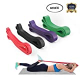 LEEKEY Resistance Band Set, Pull Up Assist Bands - Stretch Resistance Band - Mobility Band - Powerlifting Bands - for Resistance Training, Physical Therapy, Home Workouts (Set of 4)