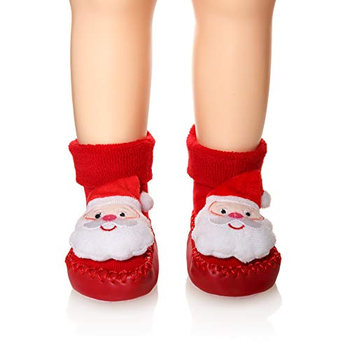 - Eocom Baby Boy Girls Toddlers Christmas Gift Moccasins Non-Skid Indoor Slipper Winter Warm Shoes Socks (Santa Claus, 6-12 Months)