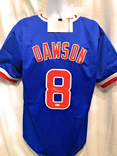 Andre Dawson Chicago Cubs Signed Autograph MLB Custom Blue Jersey JSA Witnessed Certified