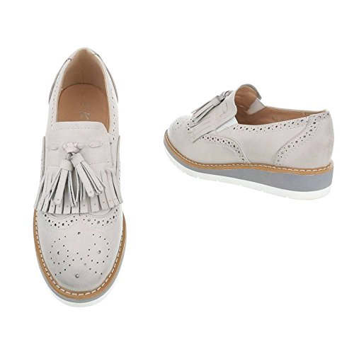 King Of Shoes Damen Slippers Loafers Halbschuhe Brogues Fransen Dandy Plateau Schuhe Quasten Keilabsatz 377 Grau