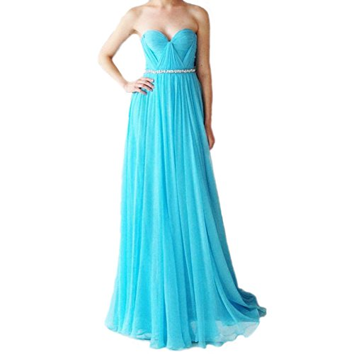 Lang Abendkleider linie LuckyShe Ballkleid Festkleider Silk Türkis A Chiffon Damen Elegant Uzwxqnw5O