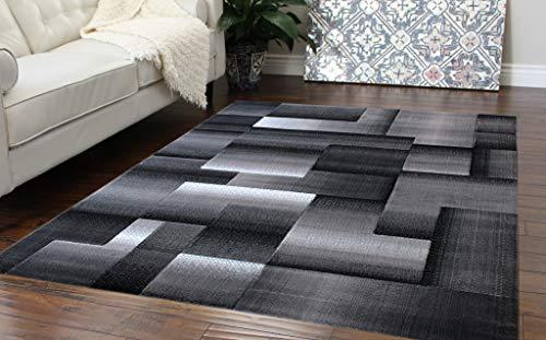 Masada Rugs, Modern Contemporary Area Rug, Grey Black (8 Feet X 10 Feet)