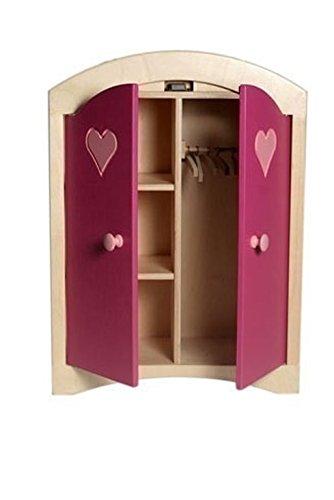 Puppenkleiderschrank inkl. 5 Kleiderbügeln / Material: Holz / Farbe: natur/rosa / Maße: 44,5 x 21,5 x 61 cm / Gewicht: 8,1 kg