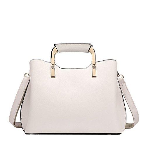 FLHT Leather Leather Ladies Bolso Messenger Bag Bolso De Hombro Wide Strap Backpack Beige