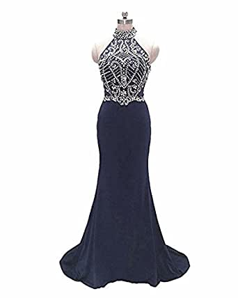 Women's Dress Beaded High Neck Mermaid Backless Evening Party Prom Gown