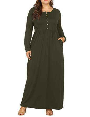 8982bc5256f Allegrace Women Plus Size Henley Round Neck Button Up Long Sleeve Pocket  Maxi Dress Army Green