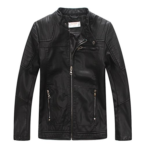 LJYH Boys' Faux soft Leather Jacket Outerwear Biker Jacket Black 9-10years