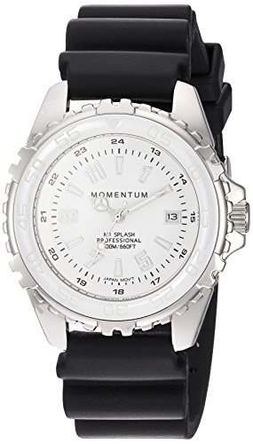 Momentum Women's Quartz Stainless Steel and Rubber Diving Watch, Color:Black (Model: 1M-DN63WS1B)