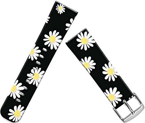 Band Compatible with Iwatch 42mm/44mm & Cisland Leather Strap Compatible with Apple Watch Series 1/2/3/4 Sport & Edition Beautiful Small Yellow Flower Floral Design