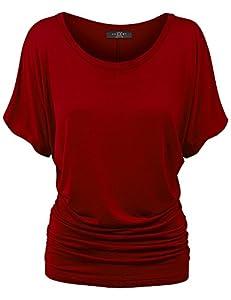 Made By Johnny MBJ WT817 Womens Dolman Drape Top with Side Shirring XXXXL Wine