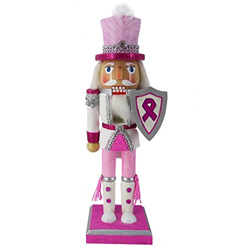Christmas Holiday Wooden Nutcracker Figure Soldier with Breast Cancer Support Sparkle Glitter, Feather, and Rhinestone Details, Large, 10 inch
