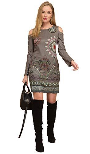 de mujer de con manga 101 Vestido para estampado larga caqui Idees CWBd7qvqw
