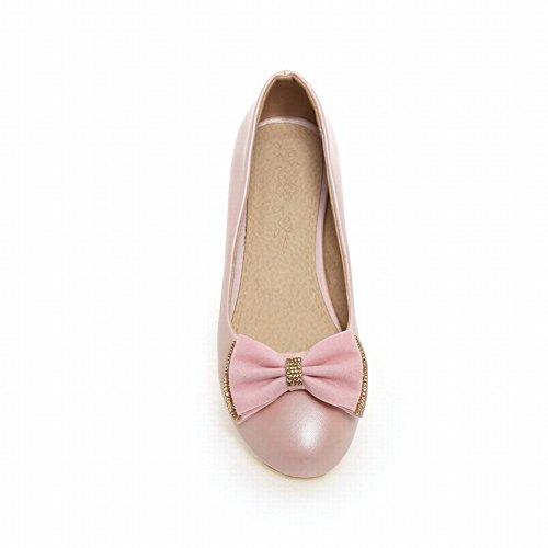 Carolbar Womens Bows Rhinestone Fashion Sweet Elegance Lage Hak Loafers Jurk Schoenen Roze