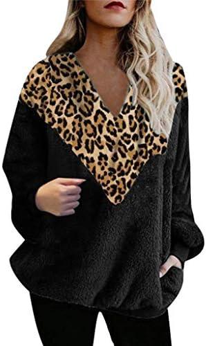 QueenMM Women`s Fuzzy Leopard Pullover Sweatshirt Cozy Long Sleeve V-Neck Oversized Colorblock Casual TopsPocket