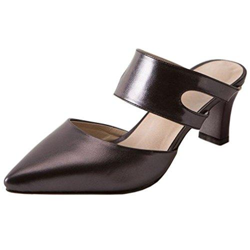 Women Heels Summer Shoes Black silver Closed TAOFFEN 1 Toe Mules UwaqdAX