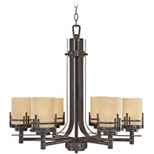 "Designers Fountain 82186-WM Mission Ridge 6 Light Chandelier, 27"" x 25.5"" x 25.5"""