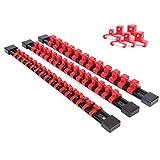 "CASOMAN 3 PC Set Socket Organizer, SAE And Metric Socket Holder Rail, 1/4"" Drive x 16 clips, 3/8"" Drive x 15 clips, 1/2"" Drive x 12 clips, Premium Quality Socket Holder (red)"