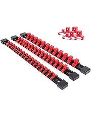 """CASOMAN 3 PC set sockel organisatör, SAE och metrisk hylshållarskena, 1/4 tum disk x 16 klämmor, 3/8 tum disk x 15 klämmor, 1/2"""" disk x 12 klämmor, högkvalitativ hylshållare (röd) … One side Röd"""