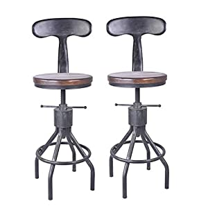 LOKKHAN Set of 2 Industrial Bar Stool-Adjustable Swivel Wood Metal Bar Stool-Counter Height to Extra Tall Farmhouse Bar…