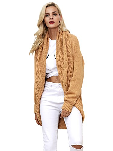 Simplee Women's Casual Loose Oversized Open Front Long Knit Cardigan Sweater Khaki US (Open Neck Sweater)