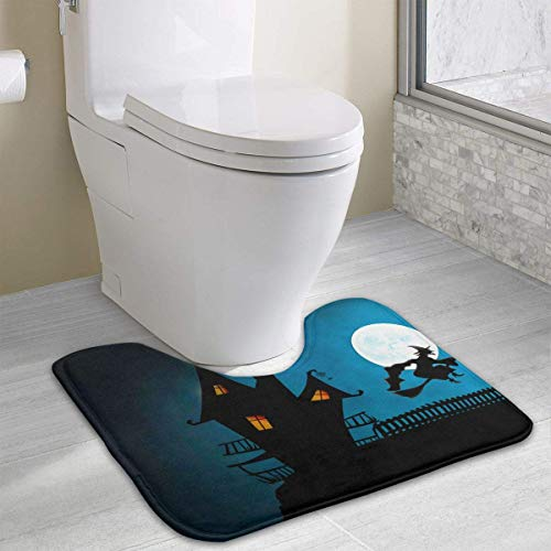 Beauregar Halloween Contour Bath Rugs,U-Shaped Bath Mats,Soft Memory Foam Bathroom Carpet,Nonslip Toilet Floor Mat 19.2″x15.7″