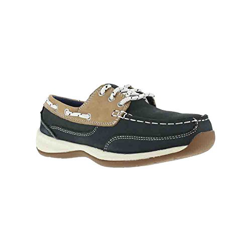 Rockport Womens Navy Leather Boat Shoes Sailing Club Steel Toe 7.5 W -
