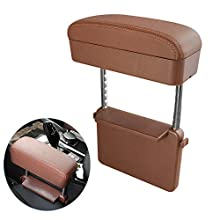 Blueshyhall Car Center Console Organizer Armrest Storage Box Holder Container, Coffee Leather Arm Rest Wireless Charger