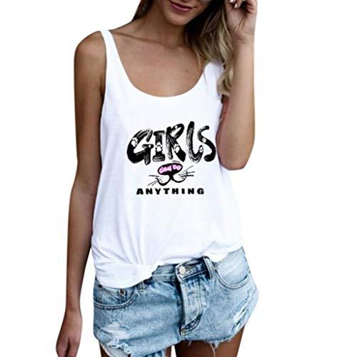 TWinmar -Women Tank Tops Leaf Print Sleeveless Vest Loose Crop T-Shirt Cute Loose Blouse Camis for Ladies Teen Girls (White 9, S)