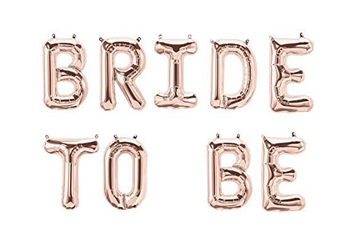 """Hanging Foils Balloons """"BRIDE TO BE """" Letters - 16"""" Rose Gold Air Balloons - Set of 9 Alphabetic Balloons - Perfect for Bridal Shower or any Party Decorations - Comes with Straw and (Bride Hanging)"""