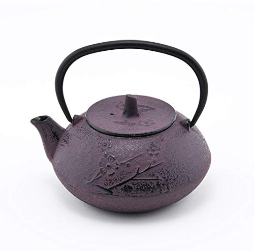 Japanese Tetsubin Purple Umei Cast Iron Teapot 24 Ounce with Stainless Steel Infuser