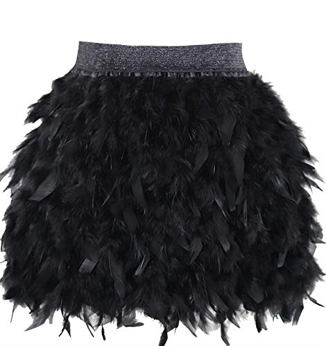 L'VOW Women's Sexy Mid Waist Mini A-line Feather Skirt for Party Wedding Halloween (Black, XL) ()